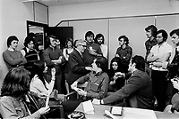 Occupation d'un  bureau de L'assurance chomage, 6 Mars 1973<br /> <br /> PHOTO :   Agence Quebec Presse - Alain Renaud