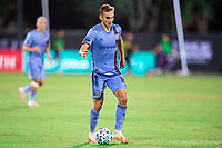 LAKE BUENA VISTA, FL - JULY 14: James Sands #16 of NYCFC dribbles the ball during a game between Orlando City SC and New York City FC at Wide World of Sports on July 14, 2020 in Lake Buena Vista, Florida.