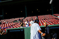 BOSTON, MASS. - SEPT. 28, 2014: Spike Lee greets Derek Jeter before the New York Yankees and Boston Red Sox play at Fenway Park. The game is last game of Derek Jeter's career. M. Scott Brauer for The New York Times