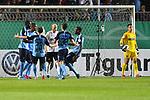 09.08.2019, BWT-Stadion am Hardtwald, Sandhausen, GER, DFB Pokal, 1. Runde, SV Sandhausen vs. Borussia Moenchengladbach, <br /> <br /> DFL REGULATIONS PROHIBIT ANY USE OF PHOTOGRAPHS AS IMAGE SEQUENCES AND/OR QUASI-VIDEO.<br /> <br /> im Bild: Jubel ueber das Tor zum 0:1 durch Marcus Thuram (#10, Borussia Moenchengladbach), mit dabei <br /> Alassane Plea (#4, Borussia Moenchengladbach) und Jonas Hofmann (#23, Borussia Moenchengladbach) <br /> <br /> Foto © nordphoto / Fabisch