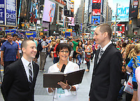08-18-12 Roger Newcomb & Kevin Mulcahy Jr. married by Colleen Zenk - Times Sq, NY Jillian Clare