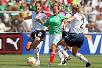 Kate Markgraf and Rachel Buehler defend during the USA's 3-1 win vs Mexico in Group A of the 2008 CONCACAF Olympic Women's Qualifying Tournament  in Ciudad Juarez, Mexico, April 6, 2008.