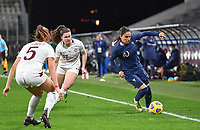French Amel Majri (10) pictured in a duel with Swiss Svenja Folmli (17) during the Womens International Friendly game between France and Switzerland at Stade Saint-Symphorien in Longeville-lès-Metz, France.