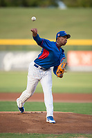 AZL Cubs 2 starting pitcher Yovanny Cruz (58) delivers a pitch during an Arizona League game against the AZL Rangers at Sloan Park on July 7, 2018 in Mesa, Arizona. AZL Rangers defeated AZL Cubs 2 11-2. (Zachary Lucy/Four Seam Images)