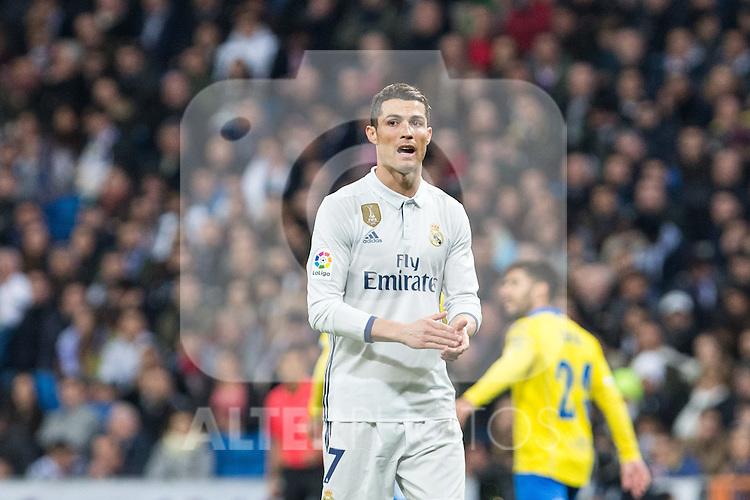 Cristiano Ronaldo of Real Madrid reacts  during the match of Spanish La Liga between Real Madrid and UD Las Palmas at  Santiago Bernabeu Stadium in Madrid, Spain. March 01, 2017. (ALTERPHOTOS / Rodrigo Jimenez)
