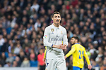 Cristiano Ronaldo of Real Madrid reacts  during the match of Spanish La Liga between Real Madrid and UD Las Palmas at  Santiago Bernabeu Stadium in Madrid, Spain. March 01, 2017. (ALTERPHOTOS / Rodrigo Jimenez)