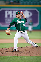 Fort Wayne TinCaps starting pitcher Aaron Leasher (24) delivers a pitch during a game against the West Michigan Whitecaps on May 17, 2018 at Parkview Field in Fort Wayne, Indiana.  Fort Wayne defeated West Michigan 7-3.  (Mike Janes/Four Seam Images)