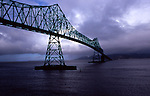 A steel girder bridge now crosses the Columbia River at Astoria where Lewis and Clark toiled back and forth by canoe.