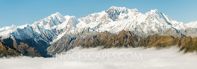 Morning light on highest peaks of Southern Alps, from left, Mount Tasman, Aoraki Mount Cook and La Perouse, with Balfour Glacier and Balfour Range, Westland Tai Poutini National Park, UNESCO World Heritage Area, West Coast, New Zealand, NZ