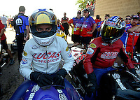 Jul. 1, 2012; Joliet, IL, USA: NHRA pro stock motorcycle rider Hector Arana Jr (left) alongside father Hector Arana Sr during the Route 66 Nationals at Route 66 Raceway. Mandatory Credit: Mark J. Rebilas-
