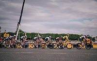 Chris Froome (GBR/SKY) piloting yellow jersey / GC leader Geraint Thomas (GBR/SKY) safely over the famous Champs-Élysées boulevard<br /> <br /> Stage 21: Houilles > Paris / Champs-Élysées (115km)<br /> <br /> 105th Tour de France 2018<br /> ©kramon