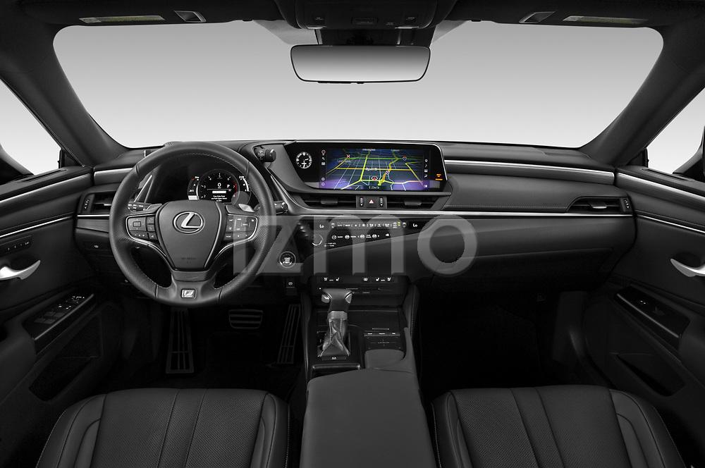 Stock photo of straight dashboard view of 2020 Lexus ES-350 F-Sport 4 Door Sedan Dashboard