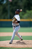 GCL Tigers West relief pitcher Chavez Fernander (29) delivers a pitch during a game against the GCL Pirates on August 13, 2018 at Pirate City Complex in Bradenton, Florida.  GCL Tigers West defeated GCL Pirates 5-1.  (Mike Janes/Four Seam Images)