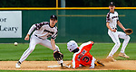 WATERBURY, CT 072721JS11 Bonnie's Shane Williams (3) steals second base as the throw to Overlook's Logan Brown (29) was late during their Mickey Mantle World Series game Thursday at Municipal Stadium in Waterbury. <br /> Jim Shannon Republican American