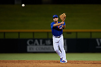 AZL Cubs 1 second baseman Herson Perez (4) throws to first base during an Arizona League game against the AZL Royals on June 30, 2019 at Sloan Park in Mesa, Arizona. AZL Royals defeated the AZL Cubs 1 9-5. (Zachary Lucy/Four Seam Images)