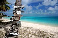 Signs on Direction Island, Cocos Keeling Islands, Indian Ocean