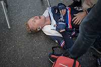 Corentin Ermenault (FRA) drops to the ground after finishing 3rd<br /> <br /> Men Under-23 Individual Time Trial<br /> <br /> UCI 2017 Road World Championships - Bergen/Norway