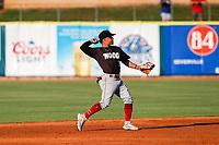 Chattanooga Lookouts second baseman Leonardo Rivas (3) on defense against the Tennessee Smokies at Smokies Stadium on June 18, 2021, in Kodak, Tennessee. (Danny Parker/Four Seam Images)