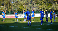 illustration picture showing the players of AA Gent during a minute of silence ahead of a female soccer game between  AA Gent Ladies and Club Brugge YLA on the third matchday of play off 1 in the 2020 - 2021 season of Belgian Scooore Womens Super League , friday 23 th of April 2020  in Oostakker , Belgium . PHOTO SPORTPIX.BE | SPP | STIJN AUDOOREN