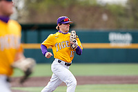 LSU Tigers center fielder Will Safford (17) jogs off the field between innings of the game against the Tennessee Volunteers on Robert M. Lindsay Field at Lindsey Nelson Stadium on March 28, 2021, in Knoxville, Tennessee. (Danny Parker/Four Seam Images)
