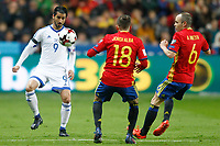 Spain's Jordi Alba (c) and Andres Iniesta (r) and Israel's Lior Refaelov during FIFA World Cup 2018 Qualifying Round match. March 24,2017.(ALTERPHOTOS/Acero) /NortePhoto.com