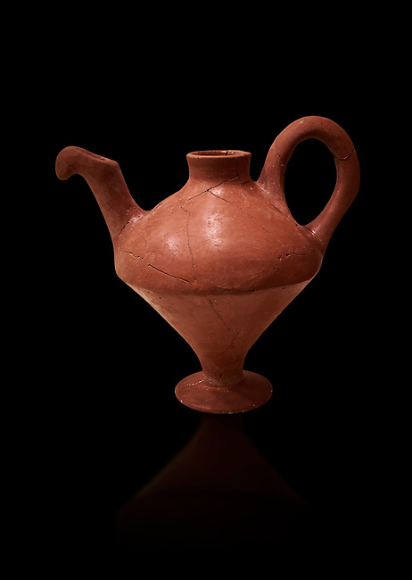 Hittite terra cotta side spouted teapot . Hittite Period, 1600 - 1200 BC.  Hattusa Boğazkale. Çorum Archaeological Museum, Corum, Turkey. Against a black bacground.