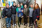David Moran standing with the Quinlan famil from BAllyduff at the Ballyduff Juvenile GAA medal presentation in Ballyduff on Thursday.<br /> L to r: William Quinlan, David Moran, John, Jack, Mike Joe and PAtrick Quinlan and Majella Duignan.
