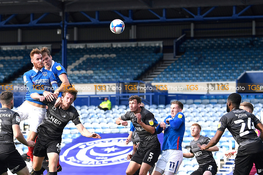 Tom Naylor of Portsmouth left has a header on goal during Portsmouth vs Doncaster Rovers, Sky Bet EFL League 1 Football at Fratton Park on 17th October 2020