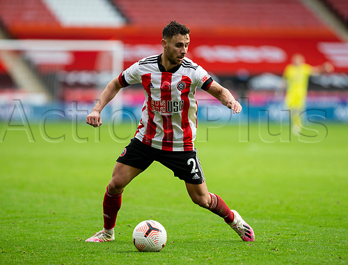 31st October 2020; Bramall Lane, Sheffield, Yorkshire, England; English Premier League Football, Sheffield United versus Manchester City; George Baldock of Sheffield United looking for a pass with the ball at his feet