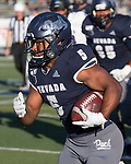 Nevada's running back Jaxson Kincaide (5) runs 33 yards for a touchdown in the third quarter in the Nevada vs Weber State football game in Reno, Nevada on Saturday, Sept. 14, 2019.