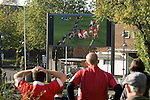 Welsh rugby fans in Swansea watching their team lose to France in the semi-finals of the Rugby World Cup in New Zealand this morning..