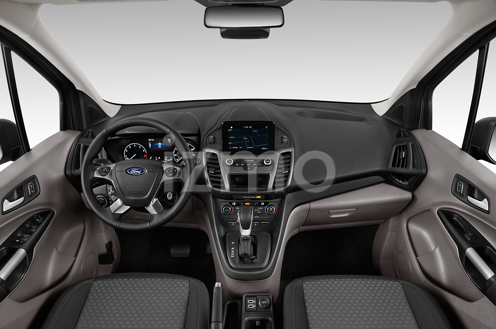 Stock photo of straight dashboard view of 2019 Ford Transit-Connect XLT 5 Door Combi Dashboard