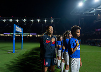 ORLANDO, FL - MARCH 05: Christen Press #23 of the United States stands during the national anthem during a game between England and USWNT at Exploria Stadium on March 05, 2020 in Orlando, Florida.