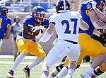BROOKINGS, SD - APRIL 24: South Dakota State Jackrabbits running back Pierre Strong Jr. #20 picks his way for a gain against the Holy Cross Crusaders at Dana J Dykhouse Stadium on April 24, 2021 in Brookings, South Dakota. (Photo by Dave Eggen/Inertia)