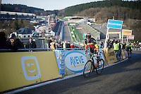 Sven Nys (BEL/Crelan-AAdrinks) recons the newest course in cyclocross<br /> <br /> Superprestige Francorchamps 2014