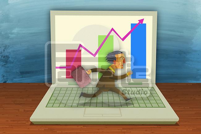 Illustrative image of businessman running on laptop's keypad representing online business
