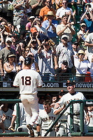 12 April 2008: Spectators welcome #18 Matt Cain of the San Francisco Giants to the dugout after he hits an homerun to left in the 6th inning during the St. Louis Cardinals 8-7 victory over the San Francisco Giants at the AT&T Park in San Francisco, CA.