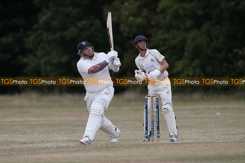 Alan Ison hits 6 runs for Upminster during Goresbrook CC vs Upminster CC (batting), Essex Cricket League at May & Baker Sports Club on 1st August 2020