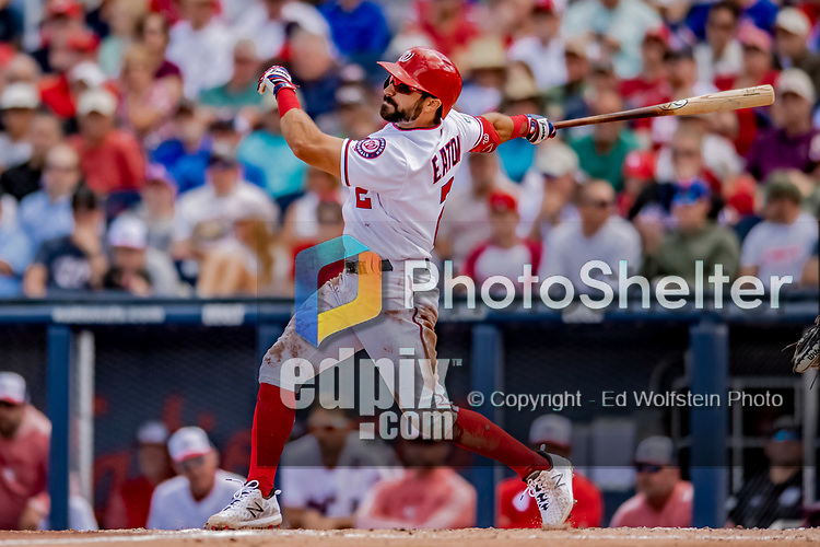 7 March 2019: Washington Nationals outfielder Adam Eaton hits a solo home run in the 3rd inning of a Spring Training Game against the New York Mets at the Ballpark of the Palm Beaches in West Palm Beach, Florida. The Nationals defeated the visiting Mets 6-4 in Grapefruit League, pre-season play. Mandatory Credit: Ed Wolfstein Photo *** RAW (NEF) Image File Available ***