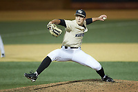 Wake Forest Demon Deacons relief pitcher Bobby Hearn (34) in action against the Liberty Flames at David F. Couch Ballpark on April 25, 2018 in  Winston-Salem, North Carolina.  The Demon Deacons defeated the Flames 8-7.  (Brian Westerholt/Four Seam Images)