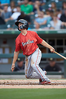 Tony Renda (17) of the Pawtucket Red Sox follows through on his swing against the Charlotte Knights at BB&T BallPark on July 19, 2018 in Charlotte, North Carolina. The Knights defeated the Red Sox 4-3.  (Brian Westerholt/Four Seam Images)