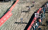descending into the infamous Zonhoven 'Pit'<br /> <br /> Elite Women's Race<br /> 2021 UCI cyclo-cross World Cup - Zonhoven (BEL)<br /> <br /> ©kramon
