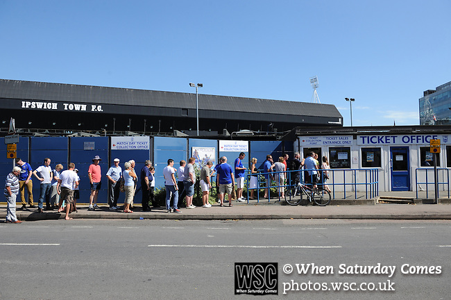 Ipswich Town 1 Blackburn Rovers 1, 18/08/2012. Portman Road, Championship. Blackburn visit Suffolk for their first game back in the Championship. Queue for tickets. Photo by Simon Gill.