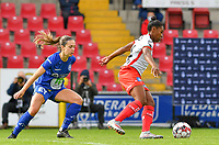 Essevee's Esther Buabadi pictured in front of Gent's Elise Meijerinck (23)  during a female soccer game between Zulte Waregem and the KAA Gent Ladies on the fourth matchday of the 2020 - 2021 season of Belgian Scooore Womens Super League , saturday 10 October 2020  in Waregem , Belgium . PHOTO SPORTPIX.BE | SPP | DAVID CATRY