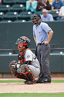 Frederick Keys catcher Pedro Perez (24) and home plate umpire Drew Freed during the game against the Winston-Salem Dash at BB&T Ballpark on May 18, 2014 in Winston-Salem, North Carolina.  The Dash defeated the Keys 7-6.  (Brian Westerholt/Four Seam Images)