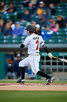 Indianapolis Indians shortstop Max Moroff (2) bats during a game against the Toledo Mud Hens on May 2, 2017 at Victory Field in Indianapolis, Indiana.  Indianapolis defeated Toledo 9-2.  (Mike Janes/Four Seam Images)
