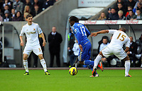 Saturday, 03 November 2012<br /> Pictured: <br /> Re: Barclays Premier League, Swansea City FC v Chelsea at the Liberty Stadium, south Wales.<br /> Ben Davies of Swansea (L)<br /> Wayne Routledge of Swansea (R) and Victor Moses of Chelsea (C)
