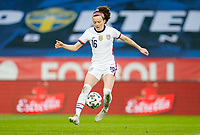 SOLNA, SWEDEN - APRIL 10: Rose Lavelle #16 of the United States dribbles with the ball during a game between Sweden and USWNT at Friends Arena on April 10, 2021 in Solna, Sweden.