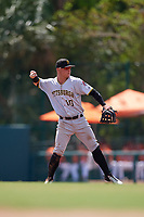 Pittsburgh Pirates Wyatt Mathisen (10) throws to first base during an Instructional League game against the Baltimore Orioles on September 27, 2017 at Ed Smith Stadium in Sarasota, Florida.  (Mike Janes/Four Seam Images)