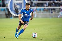 SAN JOSE, CA - MAY 22: Cristian Espinoza #10 of the San Jose Earthquakes dribbles the ball during a game between San Jose Earthquakes and Sporting Kansas City at PayPal Park on May 22, 2021 in San Jose, California.